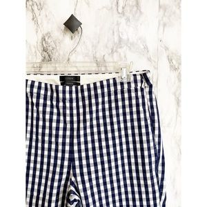 J.crew Martie pant in navy gingham bi-way stretch